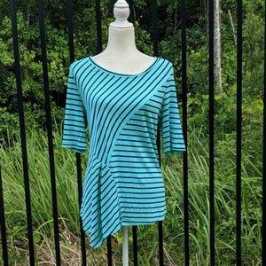 Aqua and black asymmetrical striped shirt
